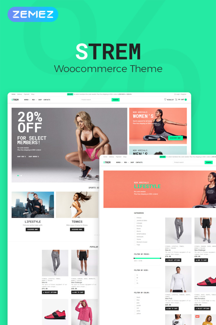 Strem Sports Store ECommerce Minimal Elementor WooCommerce Themes