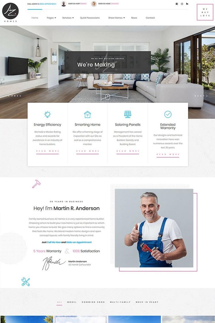 AZhomes Local Home Builders WordPress Theme