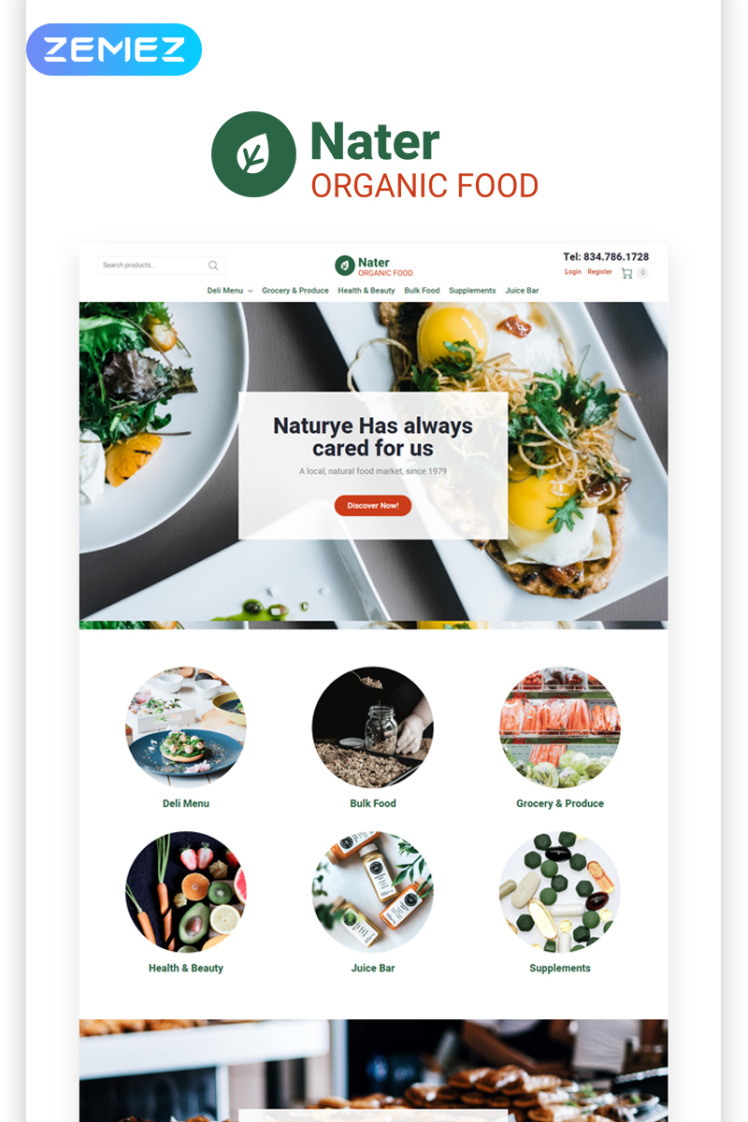 Nater Organic Food ECommerce Modern Elementor WooCommerce Theme