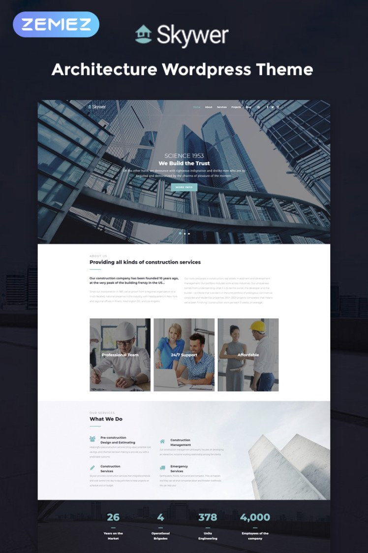 Skywer Architecture Multipurpose Modern Elementor WordPress Theme