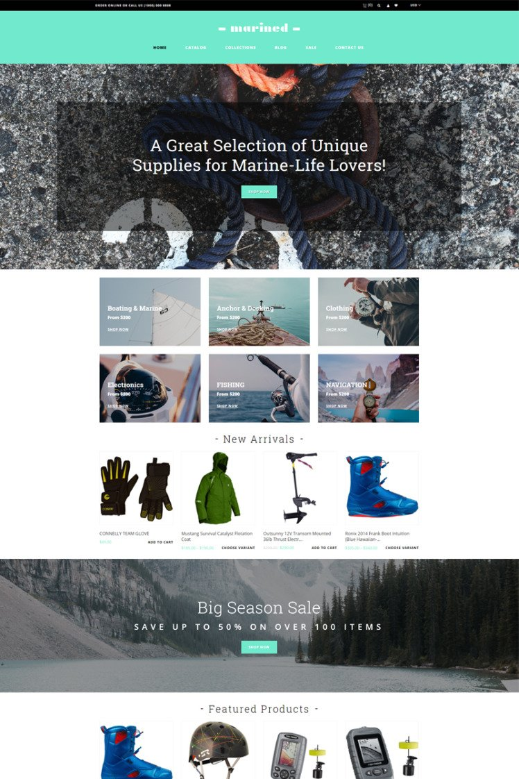 Marined Boating Accessories Clean Shopify Themes