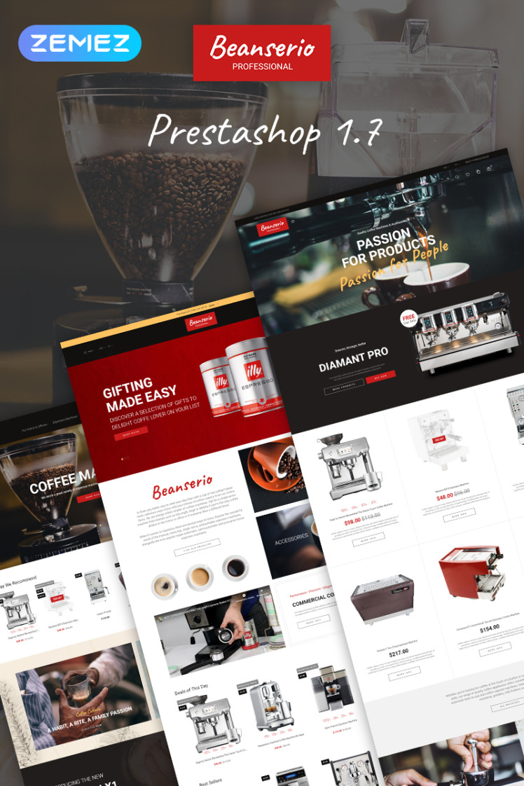 Beanserio Professional Coffee Machine Store Clean Bootstrap Ecommerce PrestaShop Themes