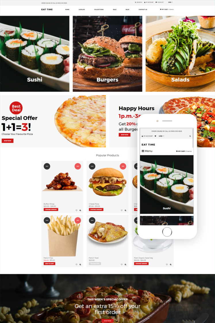 Eat time Food Store Clean Shopify Themes