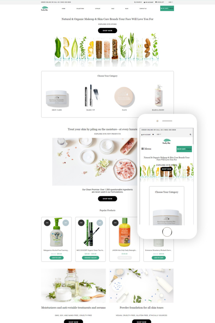 Beauty Shop Cosmetics Store Multipage Modern Shopify Themes