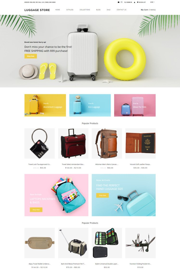 Luggage store Travel Store eCommerce Modern Shopify Themes