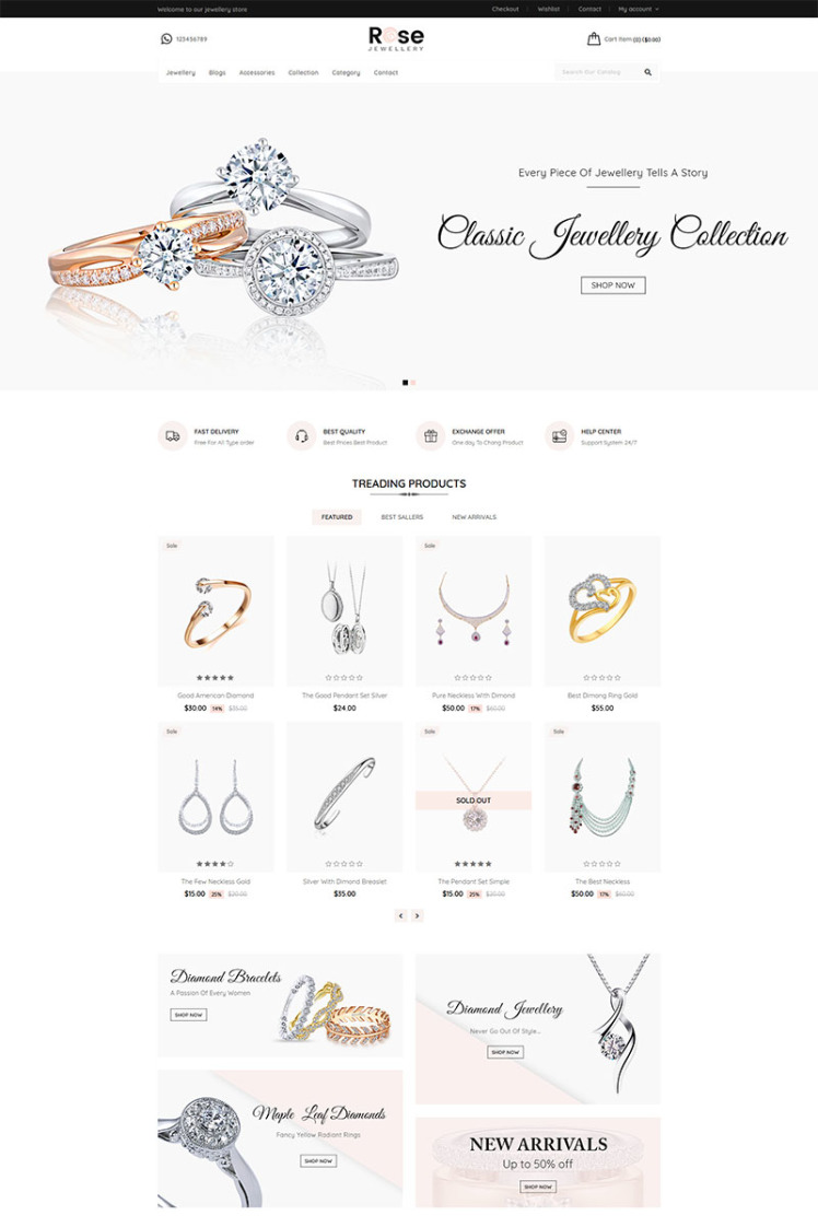 Rose Jewellery Shopify Themes