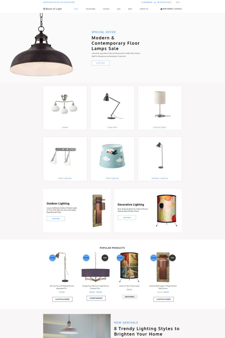 Beam of Light Lighting Electricity Multipage Clean Shopify Themes