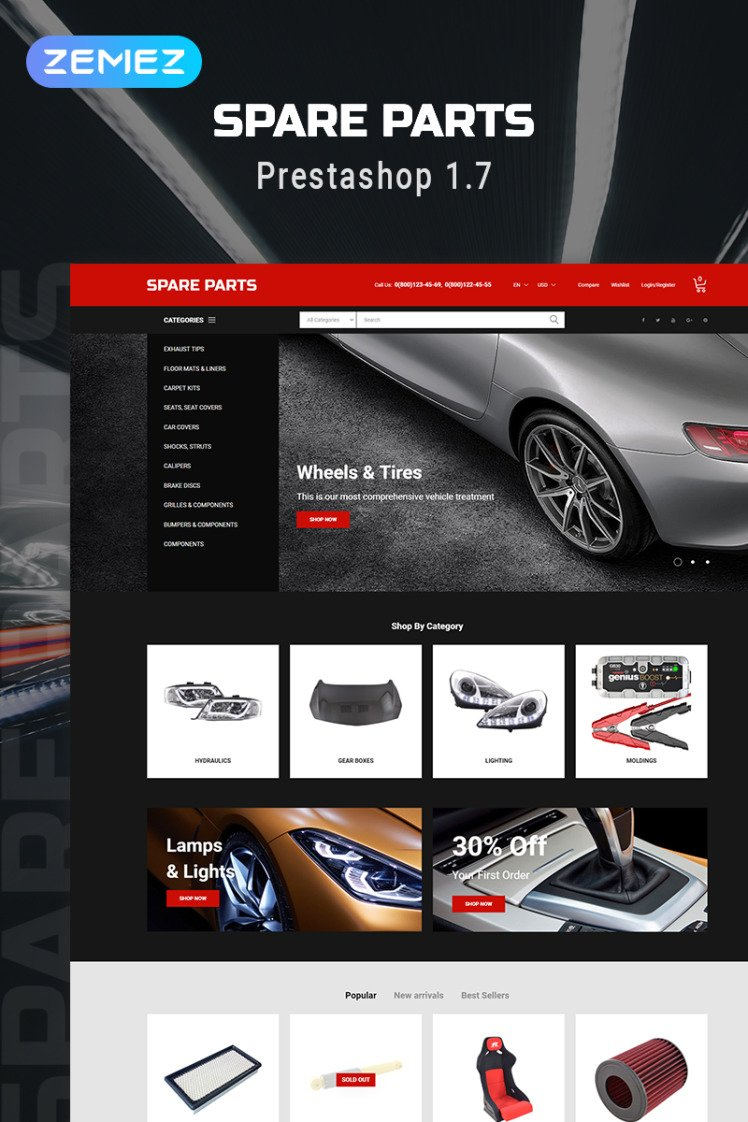 Spare Parts Automobile Replacement Parts Clean Bootstrap Ecommerce PrestaShop Themes