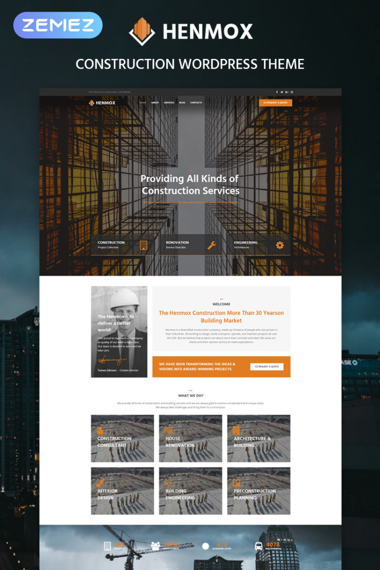 Henmox Construction Multipurpose Modern Elementor WordPress Themes
