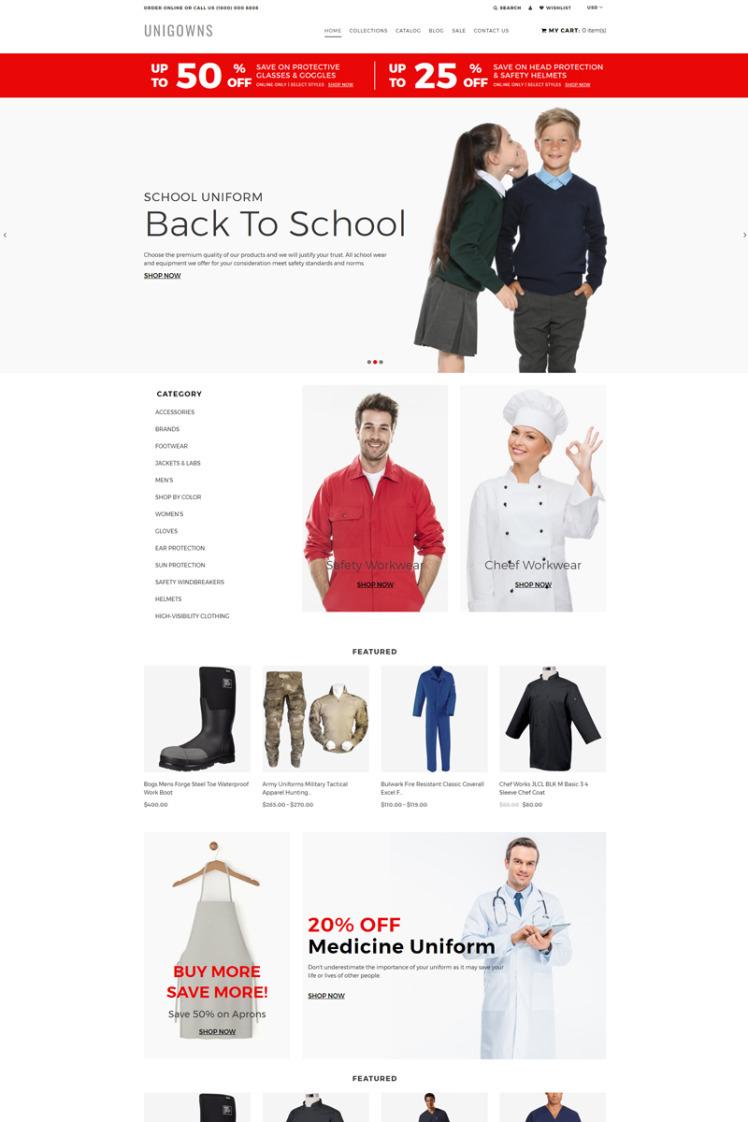 Unigowns Uniform Store Clean Shopify Theme