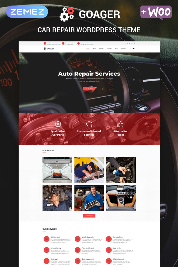 Goager Auto Repair ECommerce Modern Elementor WordPress Themes