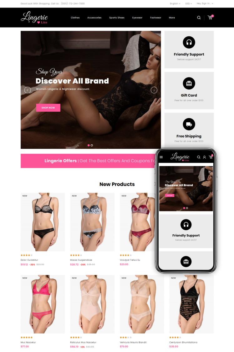 Lingerie Lite Womens Store PrestaShop Themes