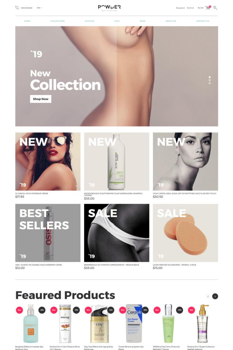 POWDER Cosmetics Store Multipage Stylish Shopify Theme