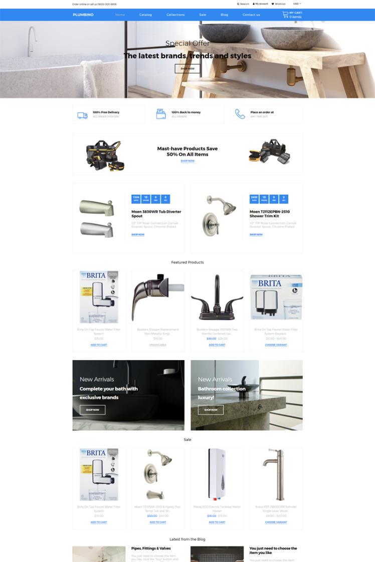 Plumbino Plumbing eCommerce Modern Shopify Themes