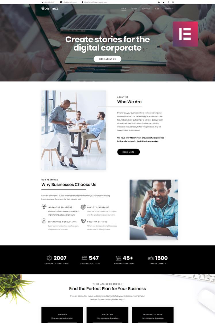 Commuz Business Multipurpose Modern Elementor WordPress Theme
