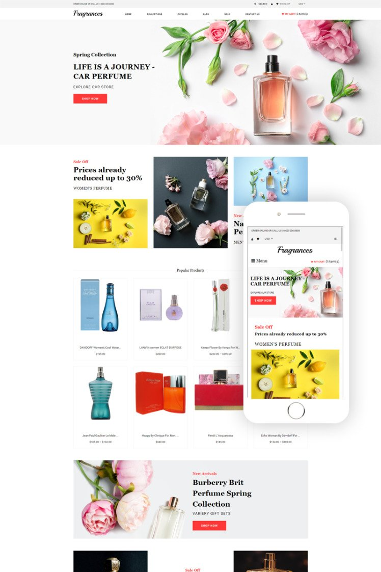 Fragrances Cosmetics Store eCommerce Clean Shopify Themes