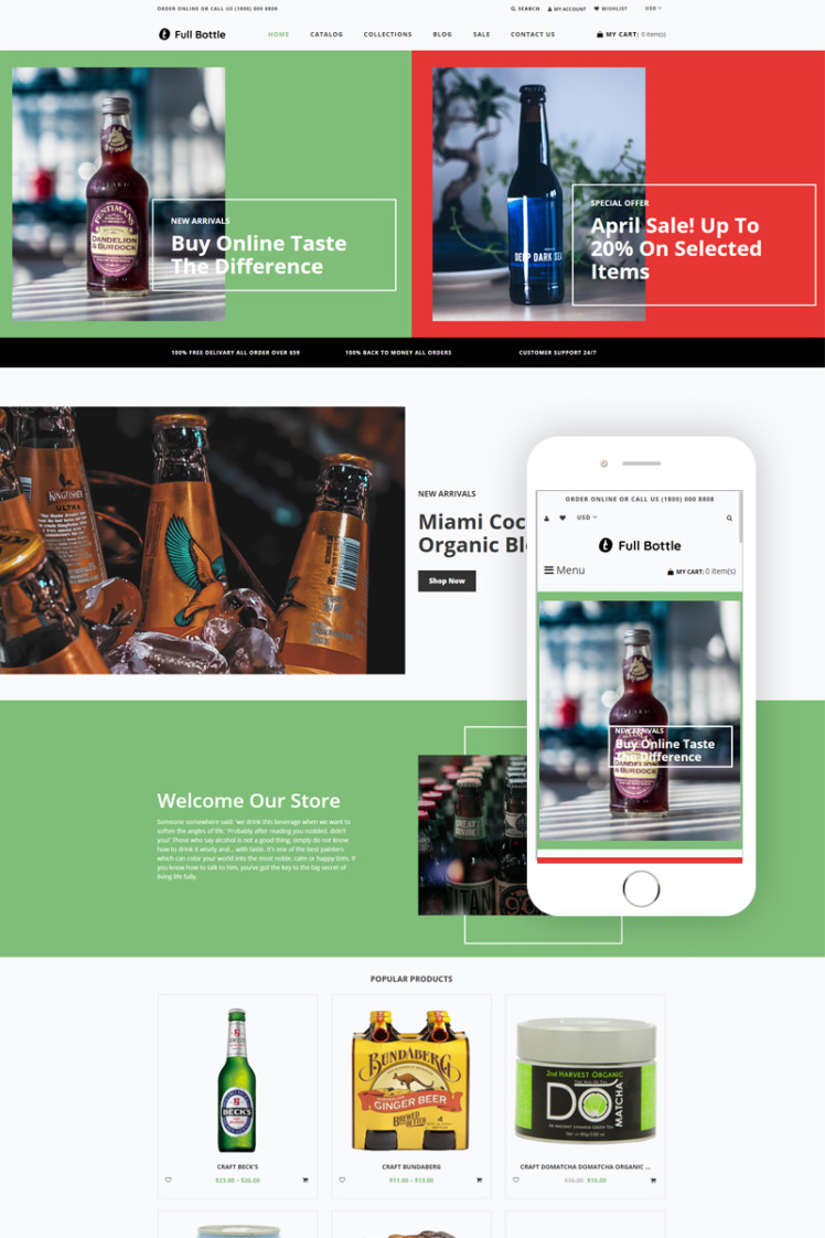 Full Bottle Drinks Store Clean Shopify Themes