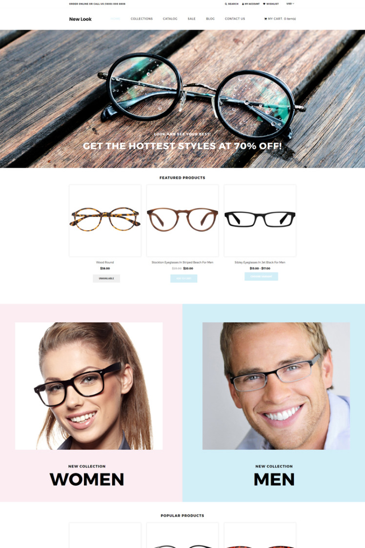 New Look Eye Glasses Clean Shopify Themes