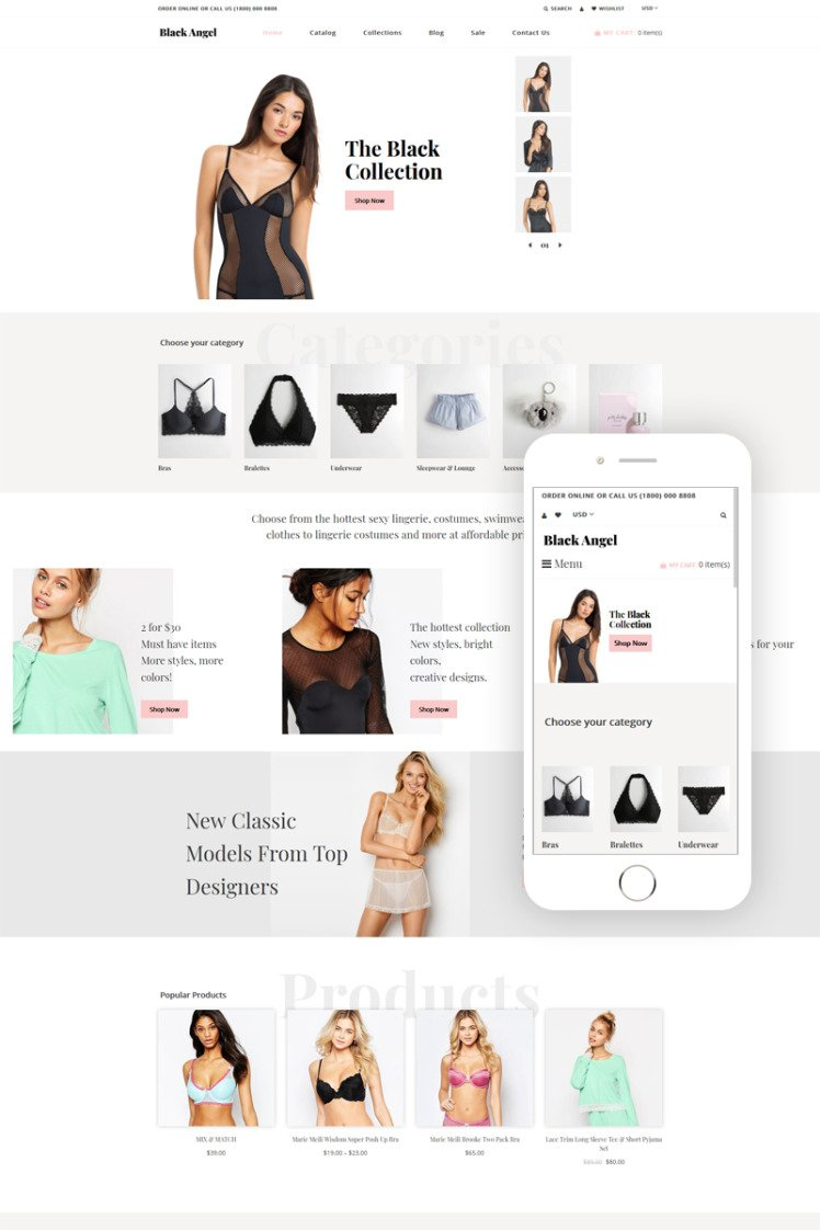 Black Angel Lingerie Multipage Clean Shopify Theme