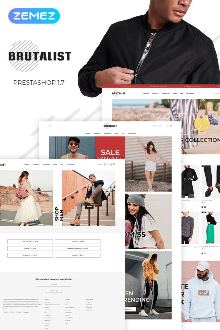 Brutalist Fashion Store Bootstrap Ecommerce Modern PrestaShop Themes