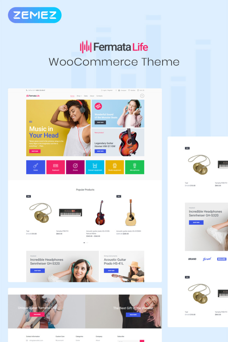 FermataLife Musical Instruments Store ECommerce Classic Elementor WooCommerce Themes