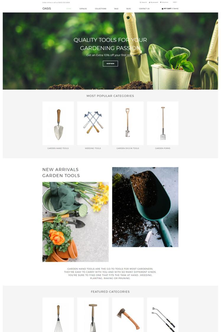 OASIS Gardening Ecommerce Clean Shopify Themes