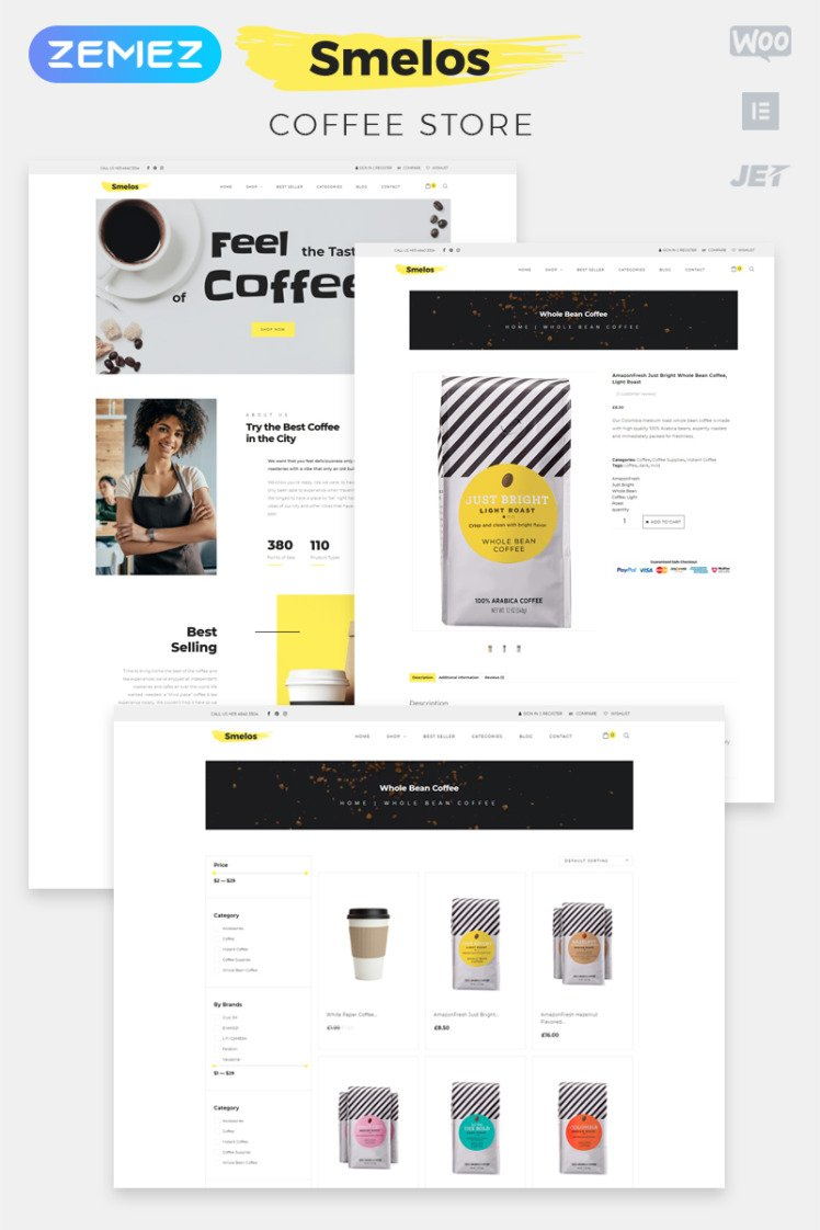 Smelos Coffee Shop ECommerce Classic Elementor WooCommerce Theme