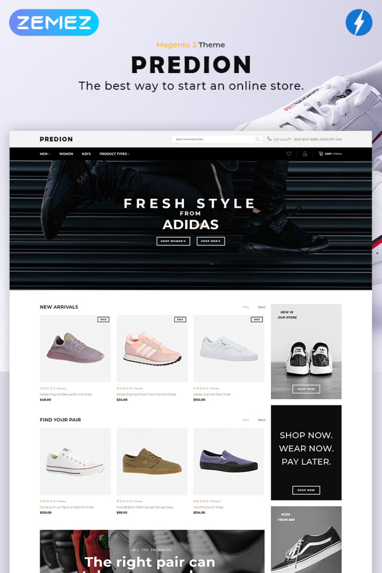 Predion eCommerce Simple Shoe Store Magento Themes