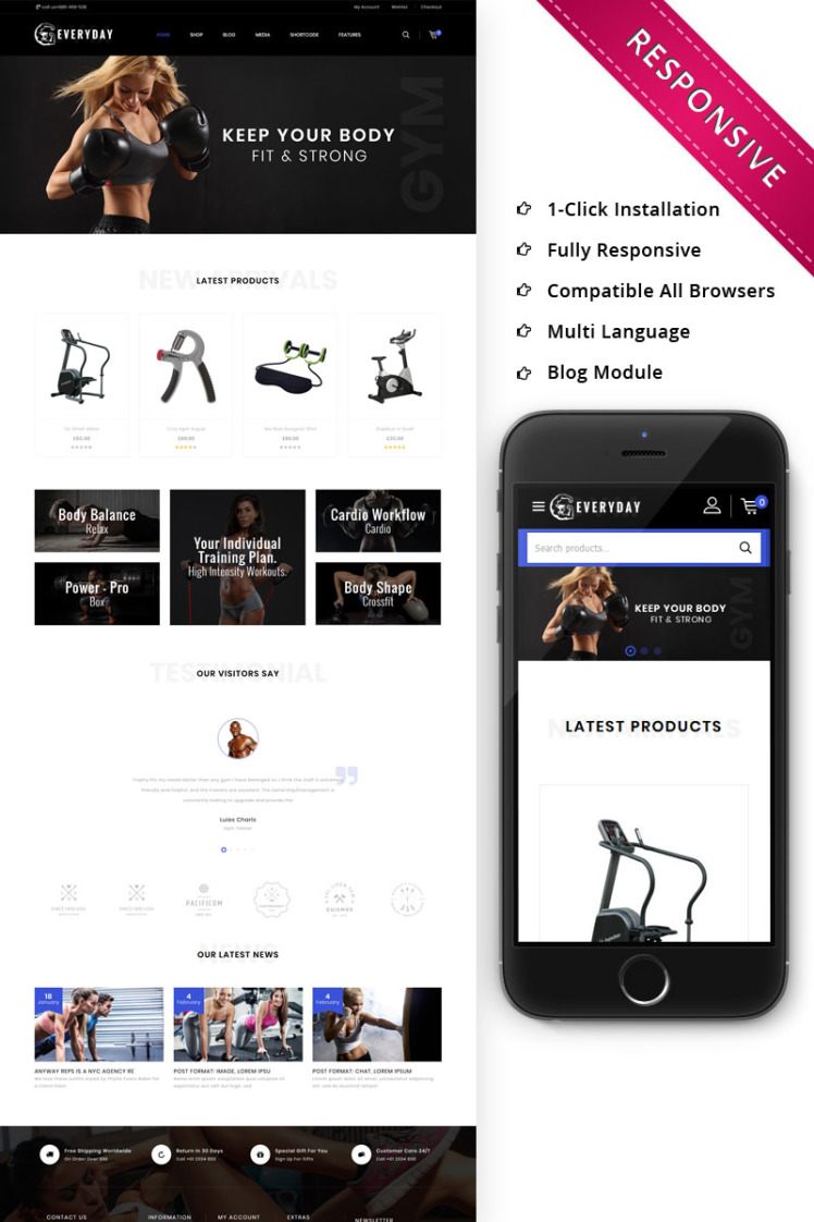 Everyday The Gym Online Store WooCommerce Themes