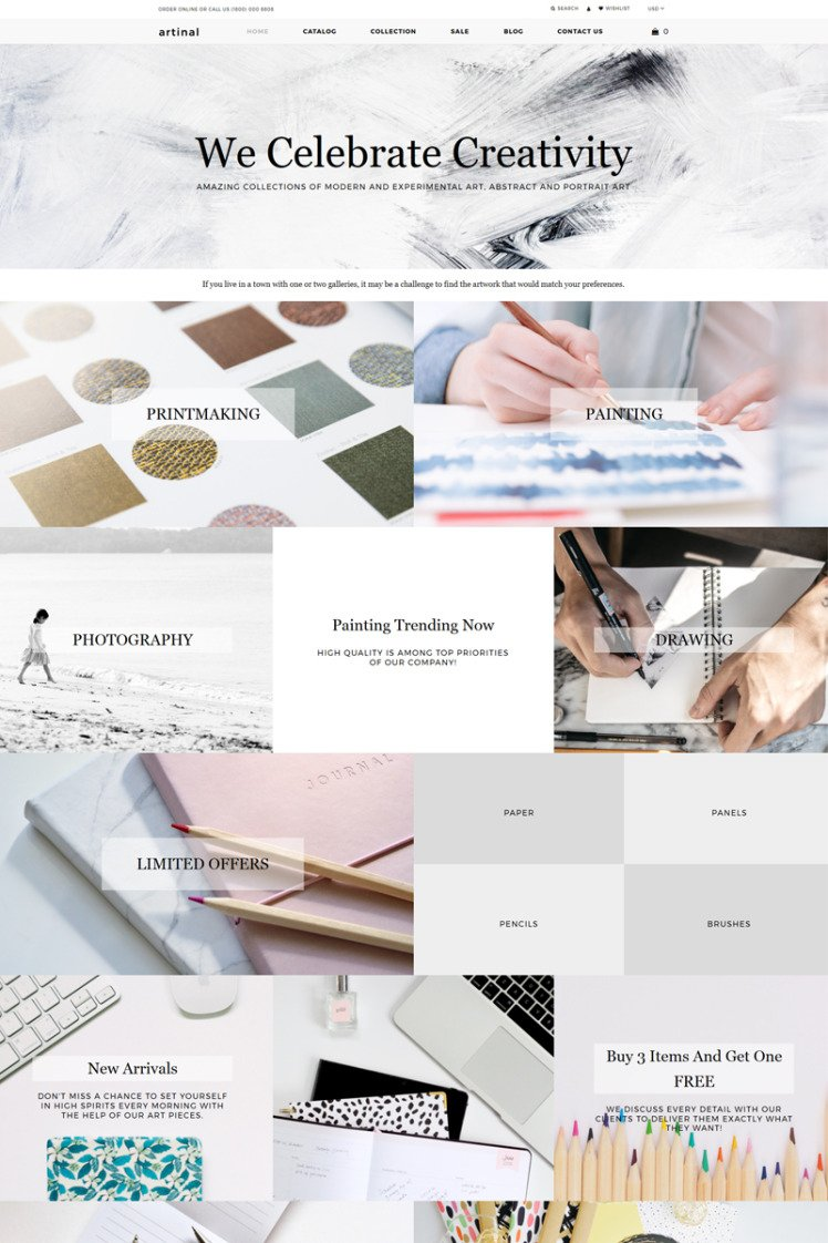 Artinal Art Store Multipage Creative Shopify Theme