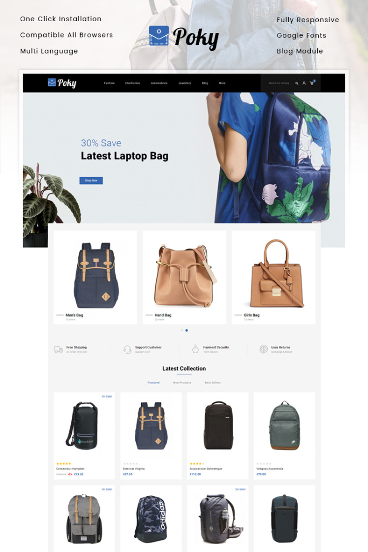 Poky Travle Bag Store PrestaShop Themes