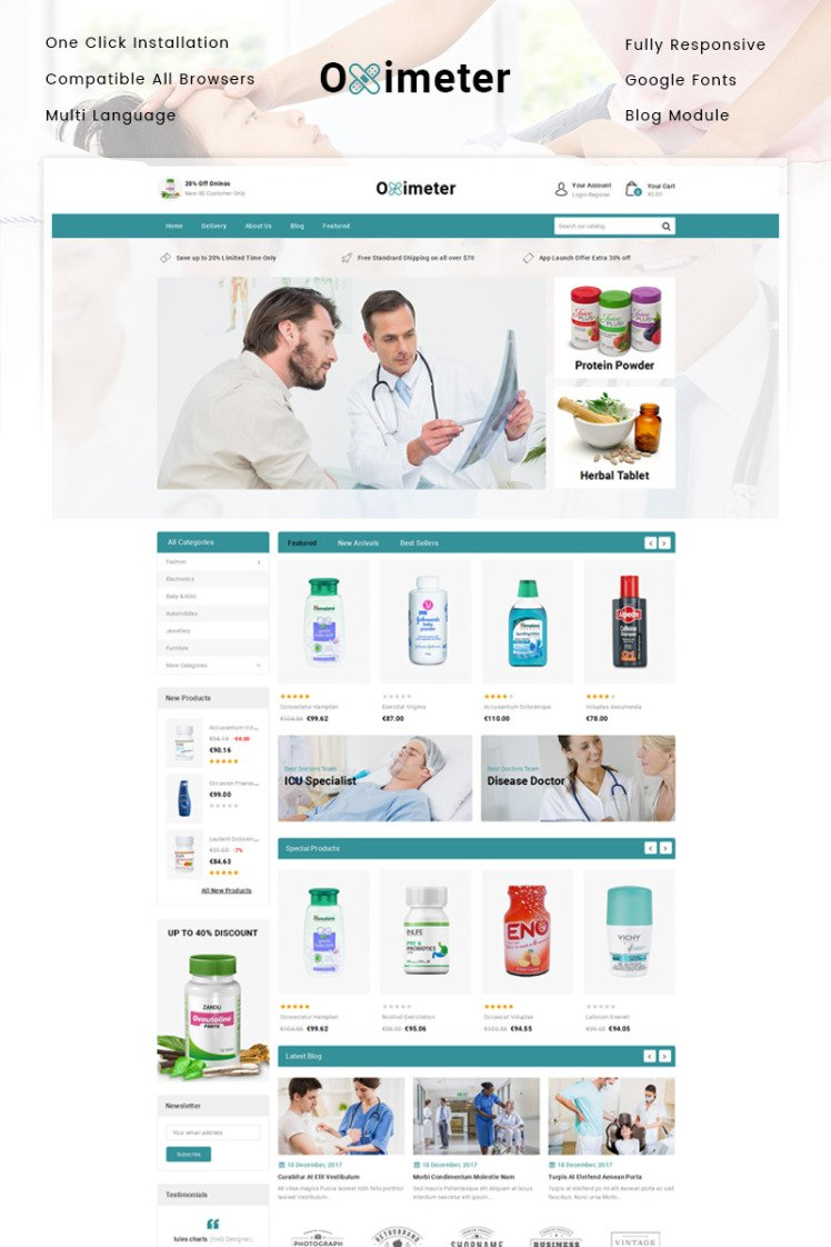 Oximeter Medical Store PrestaShop Themes