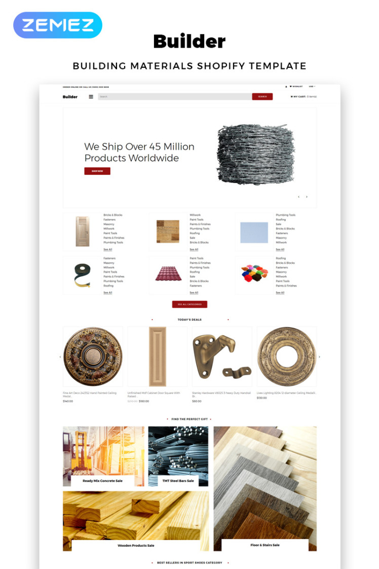 Builder Building Materials eCommerce Clean Shopify Themes