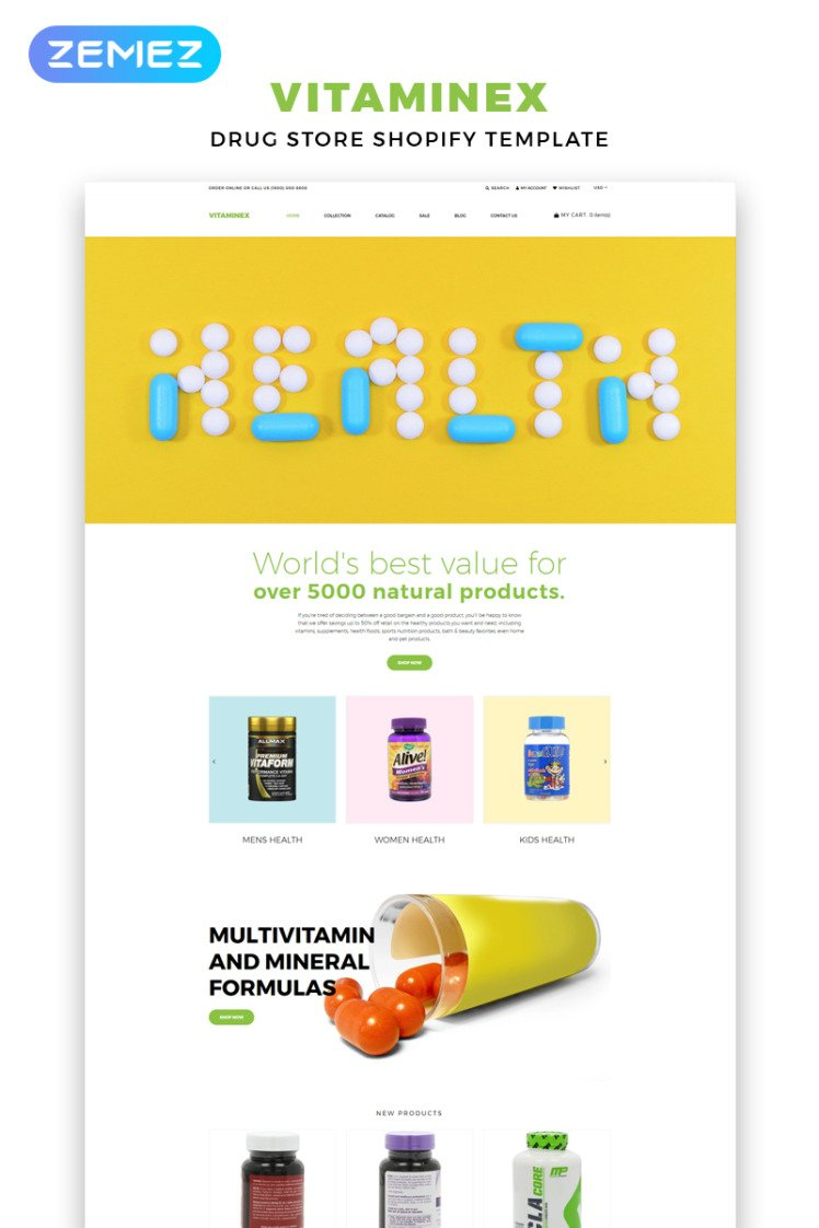 Vitaminex Drug Store Multipage Creative Shopify Themes