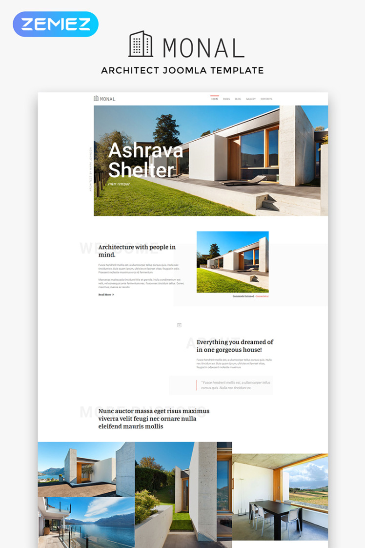 Monal Architect Multipage Clean Joomla Templates