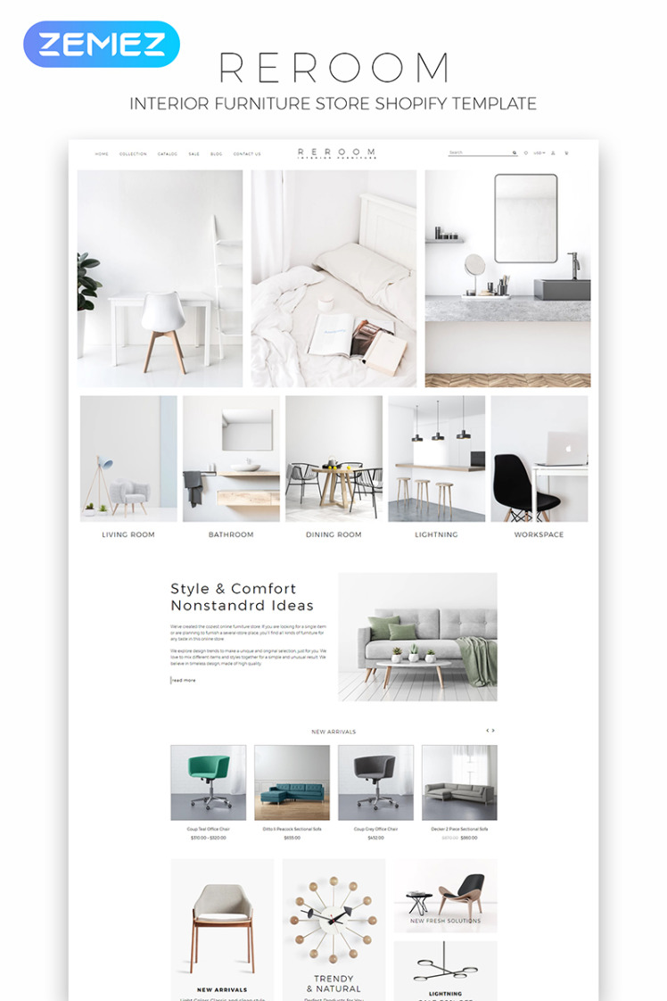 Reroom Furniture Store Multipage Clean Shopify Themes