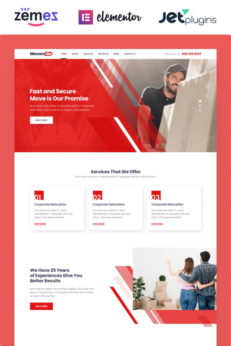 MoversGo Moving Company Modern Elementor WordPress Themes
