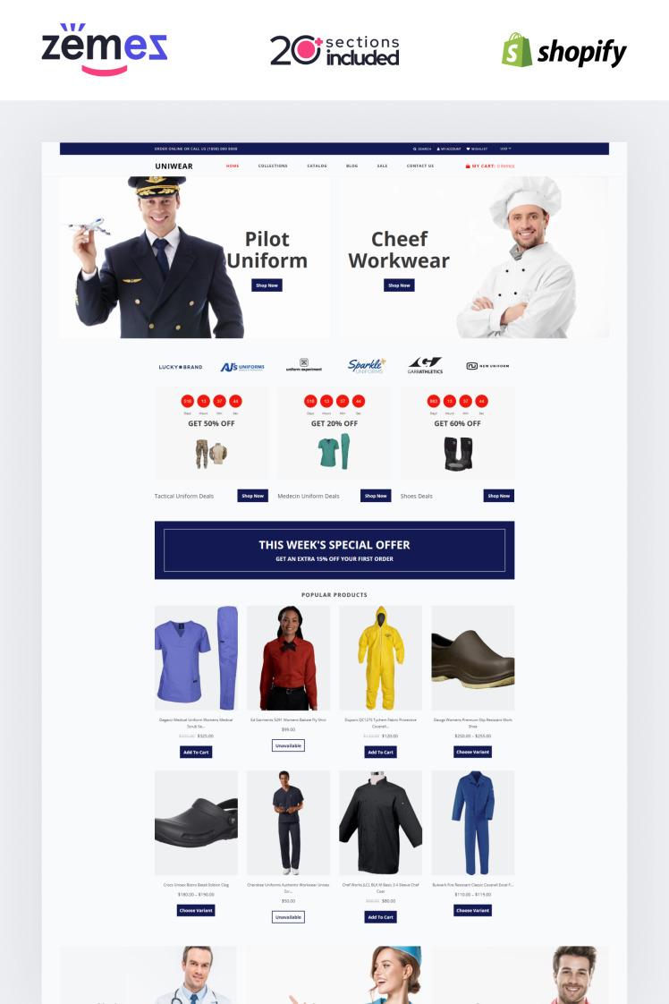 Uniwear Uniform Multipage Minimalistic Shopify Themes