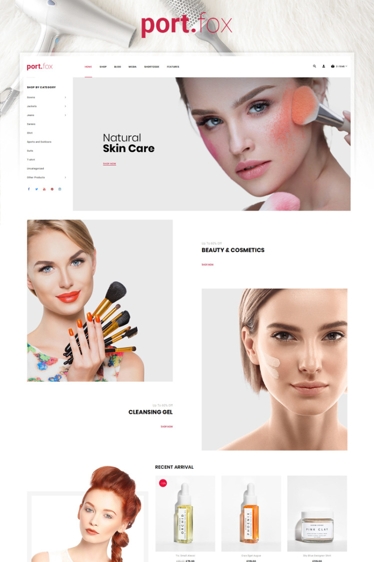 Portfox Cosmetic Store WooCommerce Theme
