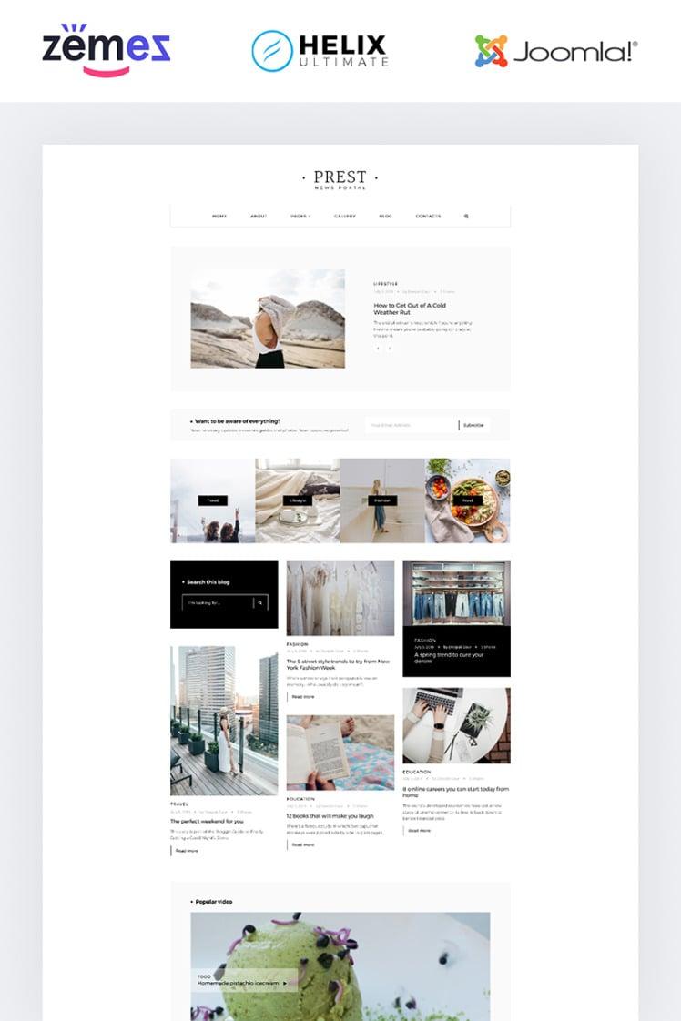 Prest News Portal Multipage Creative Joomla Templates
