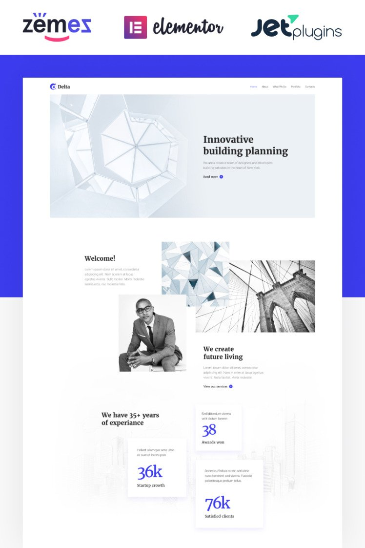 Delta Architecture Minimal Elementor WordPress Themes