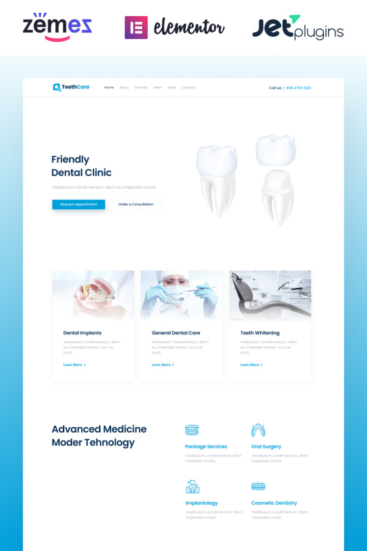 TeethCare Dentistry Classic Elementor WordPress Themes