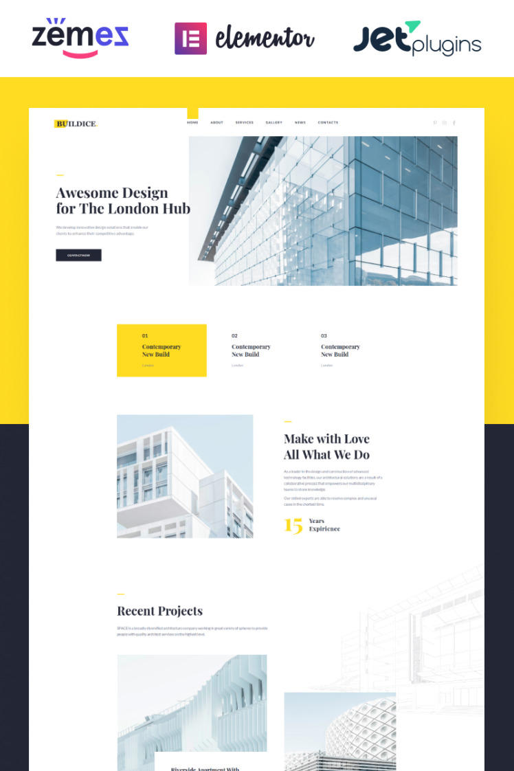 Buildice Architecture portfolio for creative studios WordPress Themes