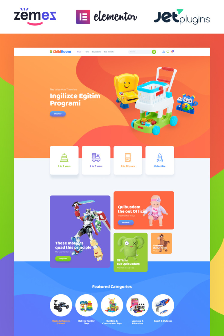 ChildRoom Toys store elementor WooCommerce Themes