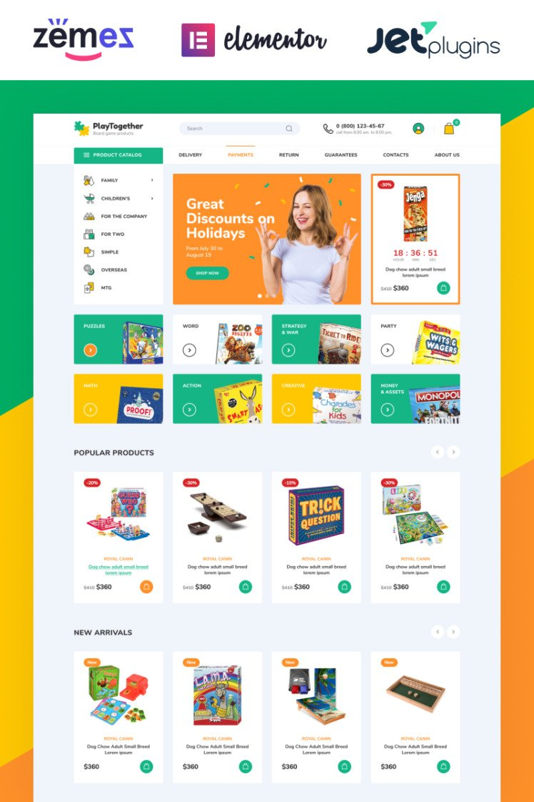 PlayTogether Board games hop Elementor WooCommerce Theme