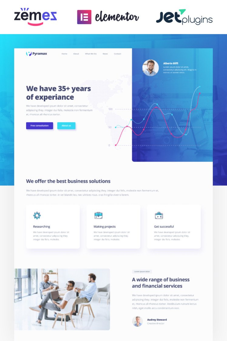 Pyramax Consulting Classic Elementor WordPress Themes