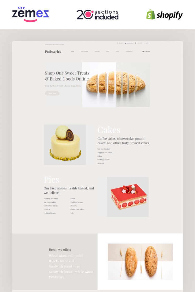 Patisseries Bakery Store Shopify Themes
