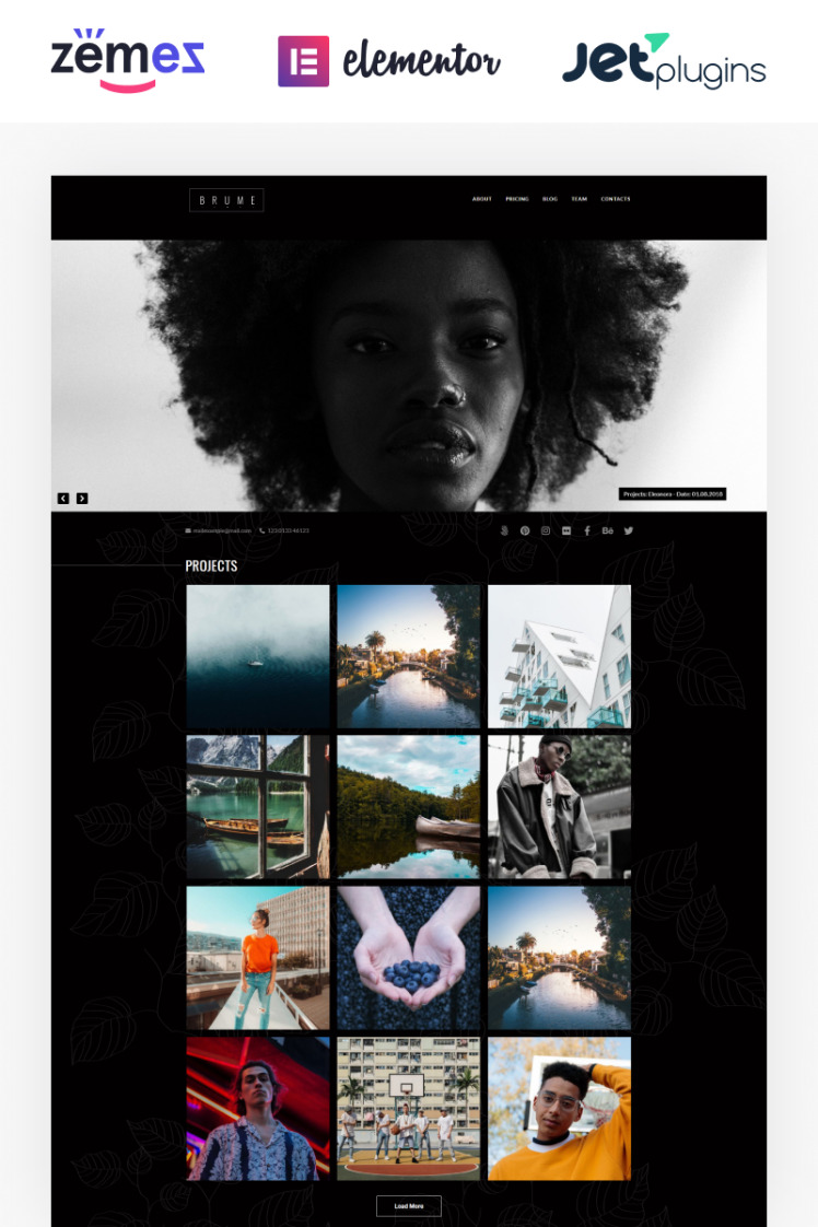 Brume Photo Portfolio with Elementor Builder WordPress Themes