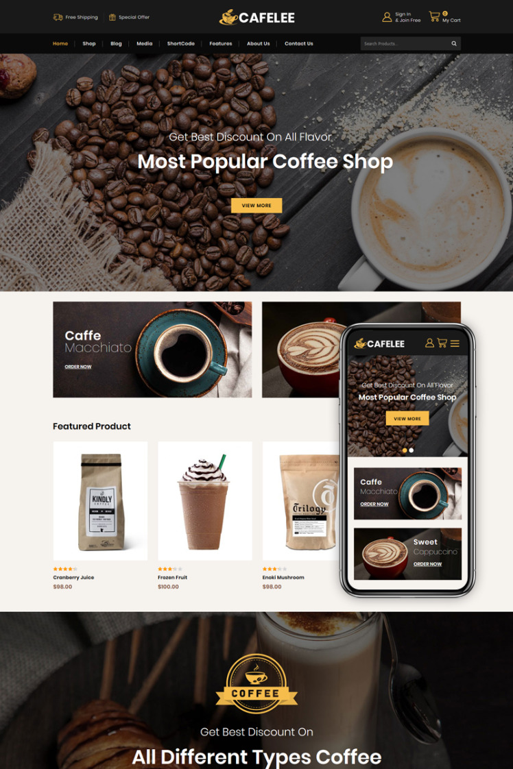 Cafelee Food Restaurant Store WooCommerce Themes