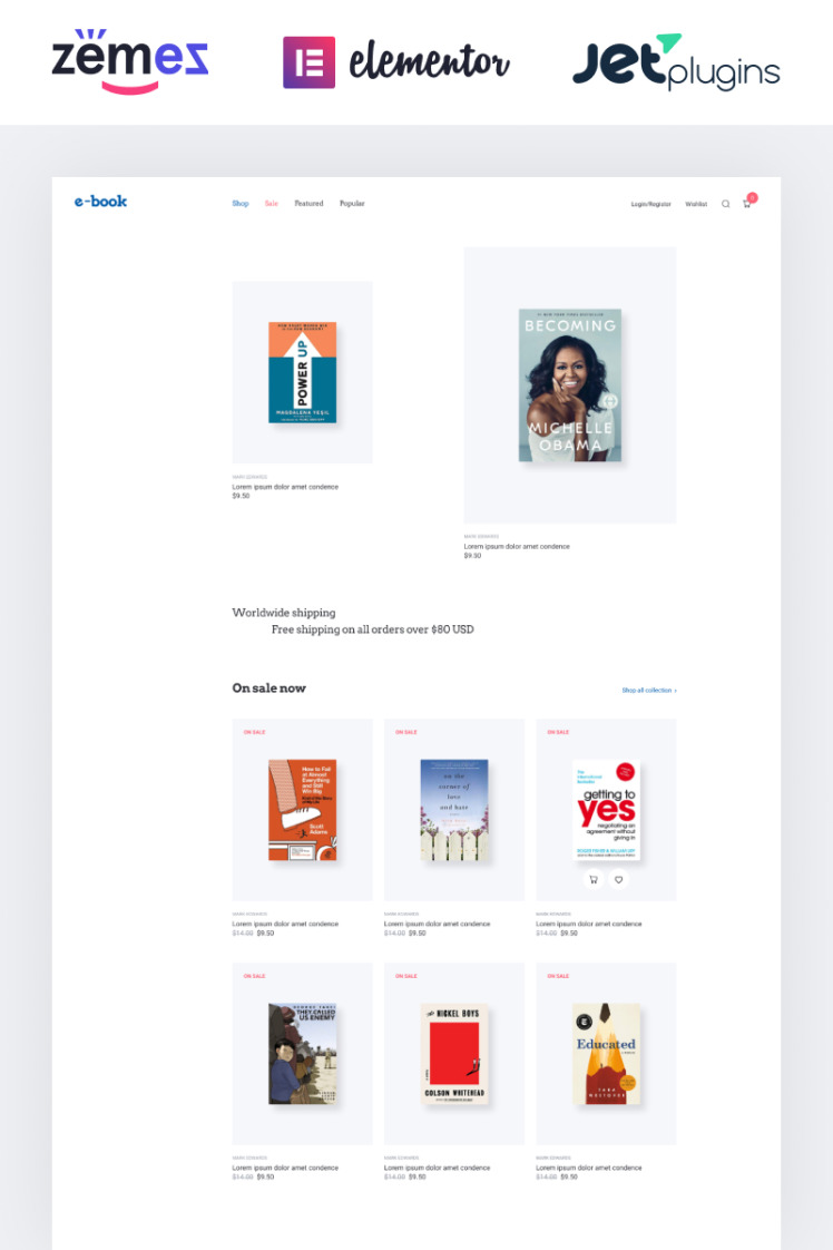 Ebook ebook website theme with widgets for Elementor WooCommerce Themes
